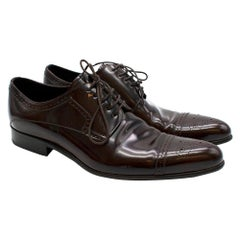 Dolce & Gabbana Dark Brown Patent Leather Derby Shoes - Size EU 44