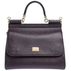Dolce & Gabbana Dark Burgundy Leather Medium Miss Sicily Top Handle Bag