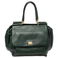 Dolce & Gabbana Dark Green Leather Large New Miss Sicily Top Handle Bag