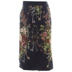 Dolce & Gabbana Dark Grey Floral Print Crepe Sheath Skirt S