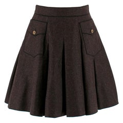 Dolce & Gabbana Dark Grey Pleated Wool Skirt - Size US 2