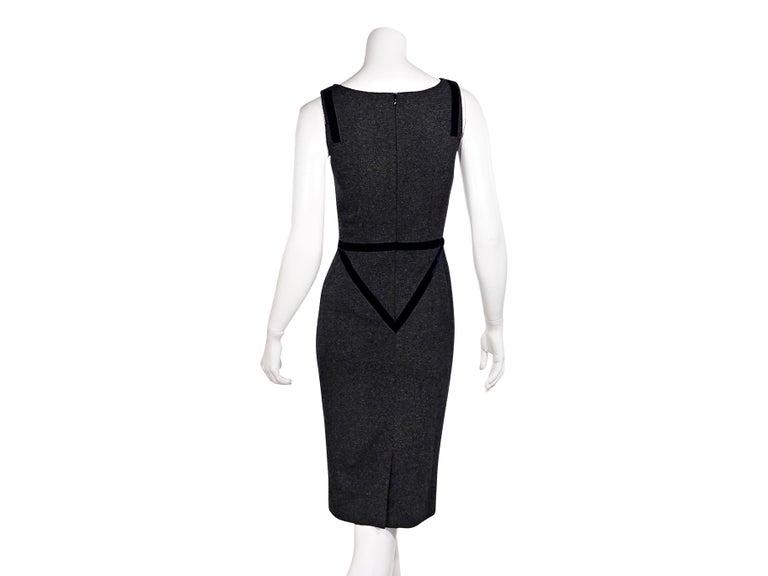 Black Dolce & Gabbana Dark Grey Velvet-Trimmed Sheath Dress For Sale