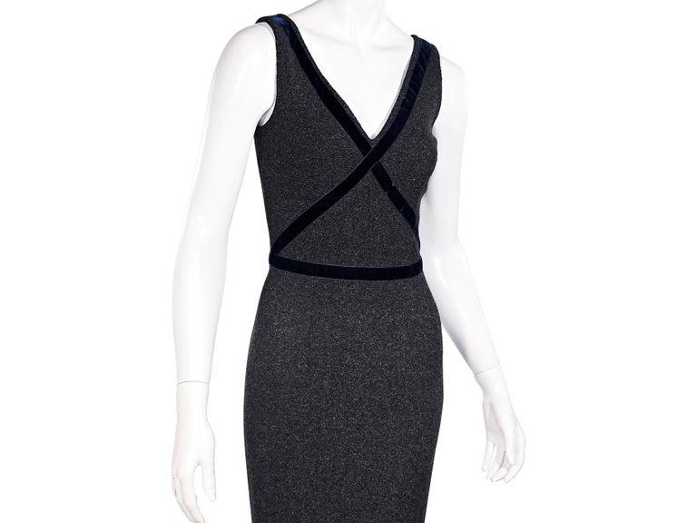 Dolce & Gabbana Dark Grey Velvet-Trimmed Sheath Dress In Good Condition For Sale In New York, NY