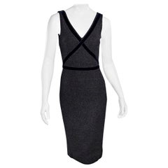 Dolce & Gabbana Dark Grey Velvet-Trimmed Sheath Dress
