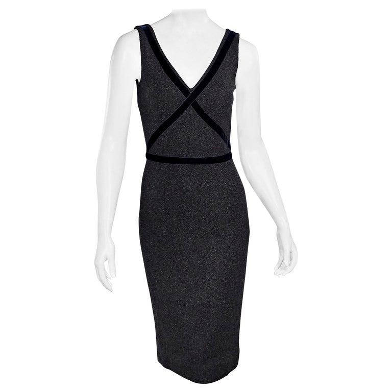 Dolce & Gabbana Dark Grey Velvet-Trimmed Sheath Dress For Sale