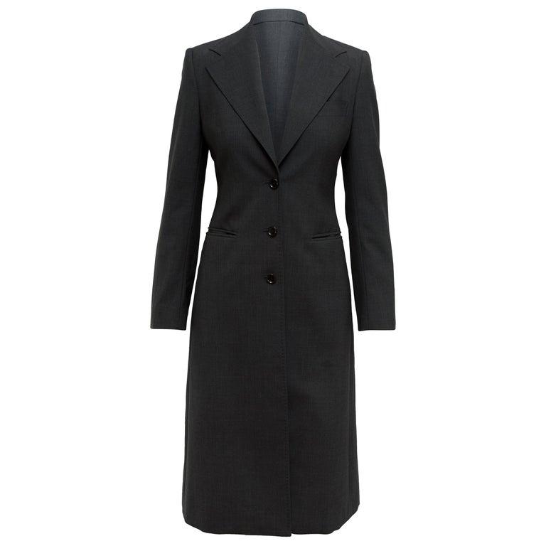 Dolce & Gabbana Dark Grey Virgin Wool Coat For Sale