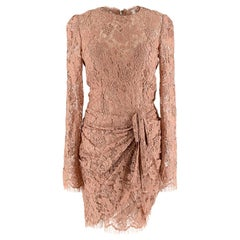 Dolce & Gabbana Dark Nude Lace Draped Dress - Size S