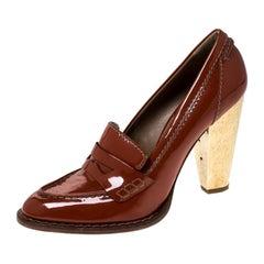 Dolce & Gabbana Dark Orange Patent Leather Loafer Pumps Size 39.5