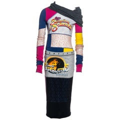 Dolce & Gabbana D&G multicoloured jersey patchwork sweater and skirt, c. 2000