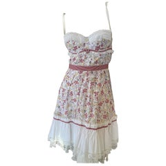 Dolce & Gabbana D&G Pink Lace Trim Floral Dress with Underwire Bra
