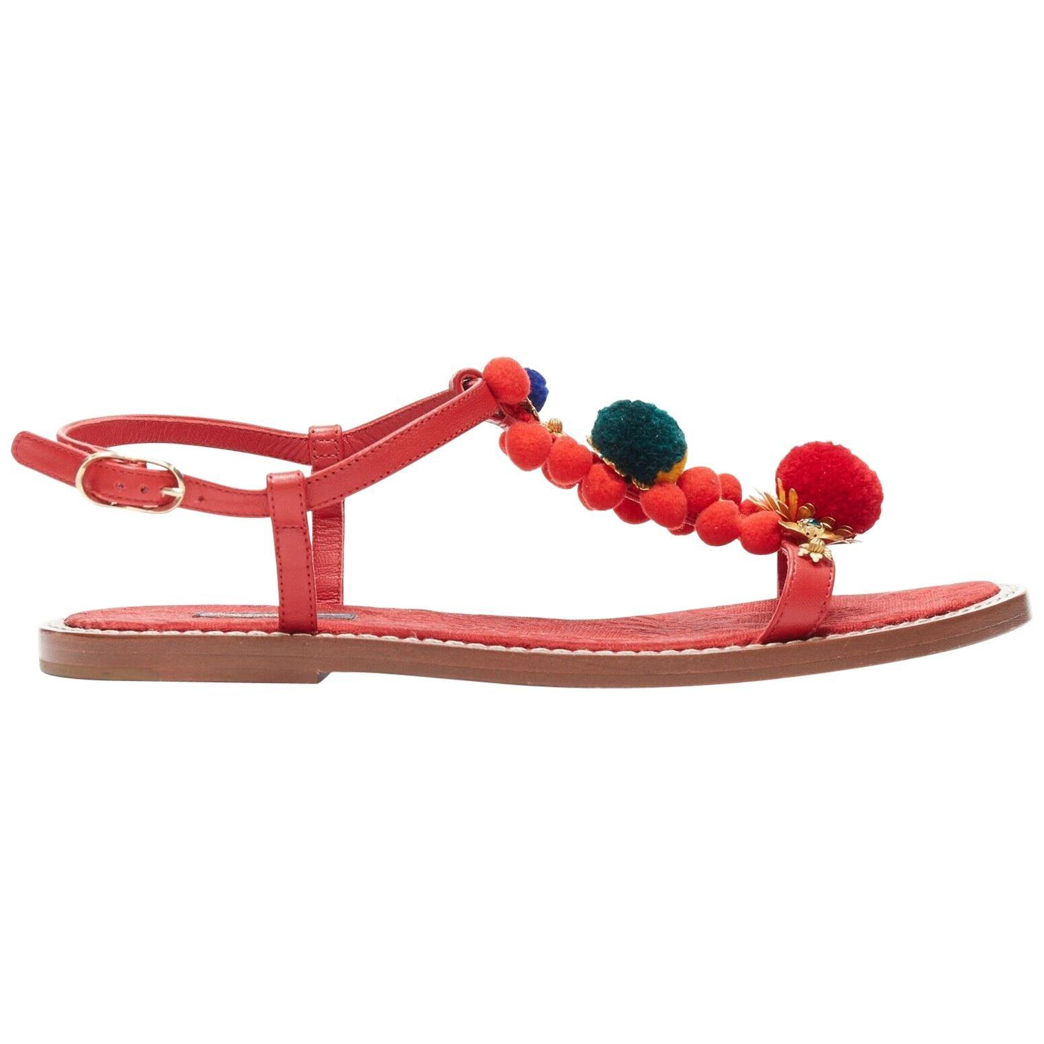 DOLCE GABBANA DG red pom pom gold floral embellished flat sandals shoes EU37.5