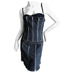 Dolce & Gabbana D&G Vintage Dark Denim Zipper Accented Cocktail Dress