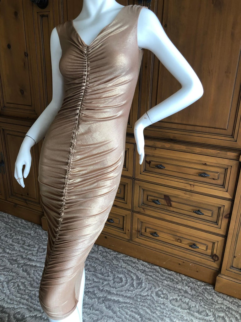 Dolce & Gabbana D&G Vintage Gold Ruched Bodycon Cocktail Dress   There is  a lot of stretch. Size 40 Bust 32