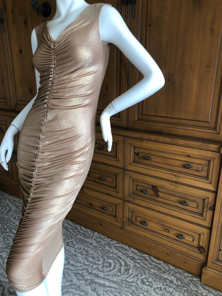 Gray Dolce & Gabbana D&G Vintage Gold Ruched Bodycon Cocktail Dress