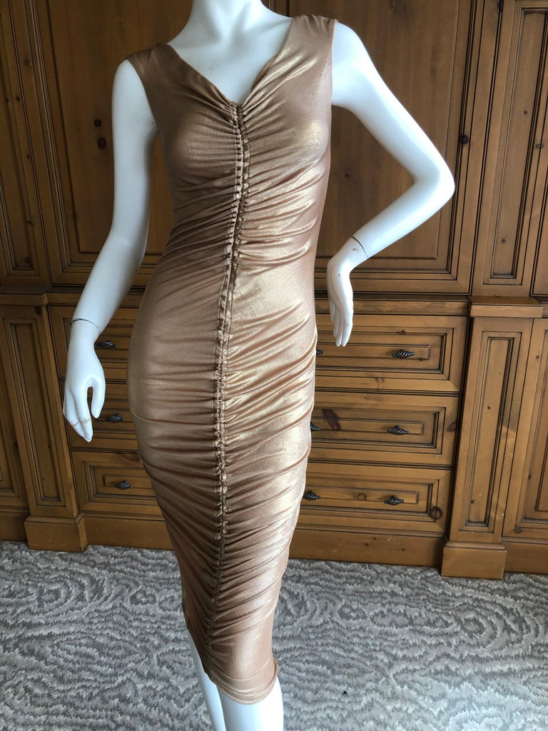 Dolce & Gabbana D&G Vintage Gold Ruched Bodycon Cocktail Dress 1