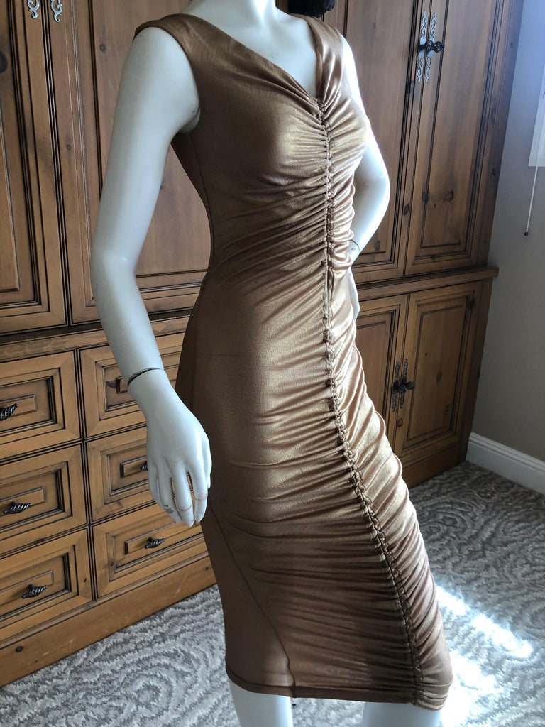 Dolce & Gabbana D&G Vintage Gold Ruched Bodycon Cocktail Dress 2