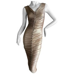 Dolce & Gabbana D&G Vintage Gold Ruched Bodycon Cocktail Dress