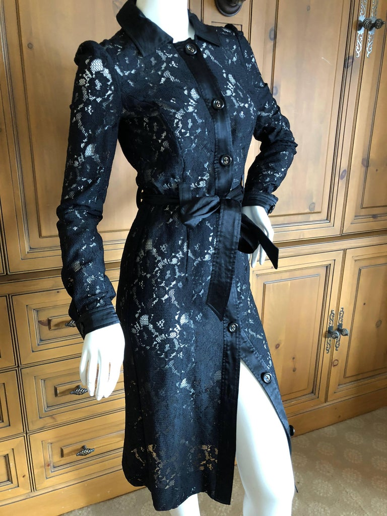 Dolce & Gabbana D&G Vintage Sheer Lace Button Up Shirt Dress    There is  a lot of stretch, sheer , comes with slip and belt. Size 42 Bust 36