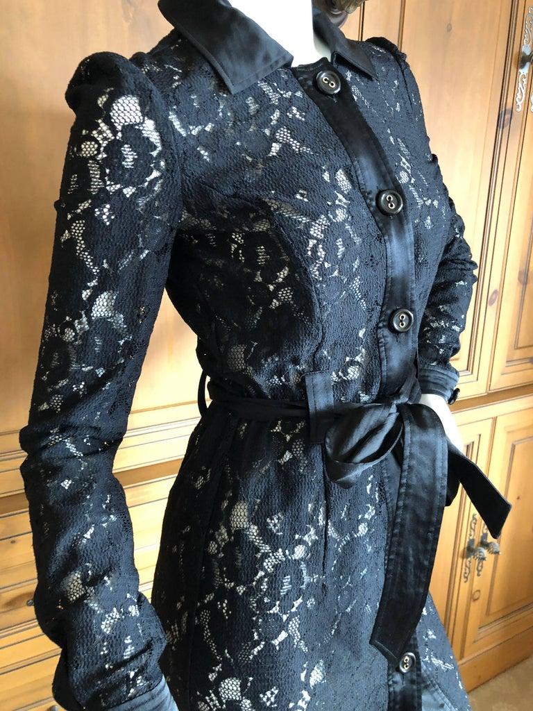 Black Dolce & Gabbana D&G Vintage Sheer Lace Shirt Dress