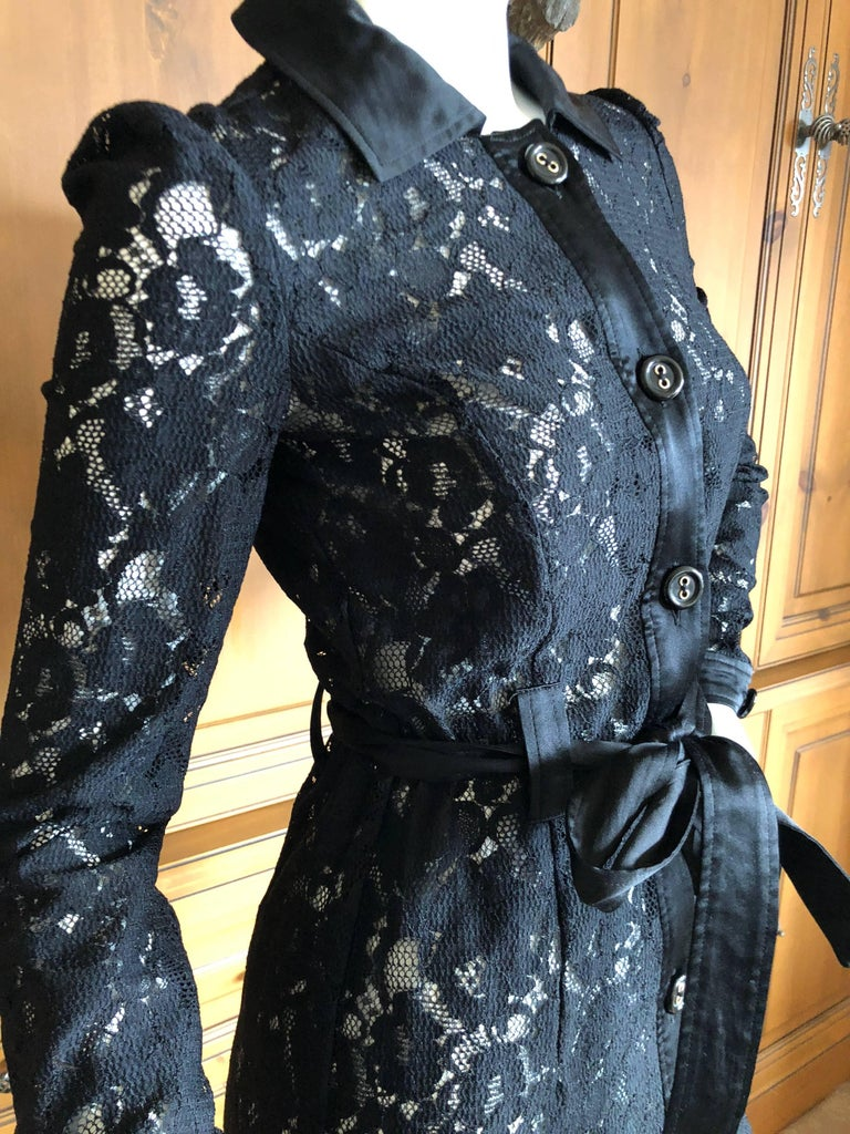 Dolce & Gabbana D&G Vintage Sheer Lace Shirt Dress  In Excellent Condition In San Francisco, CA