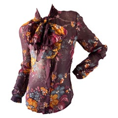 Dolce & Gabbana D&G Vintage Sheer Silk Floral Print Blouse with Pussy Bow