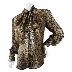 Dolce & Gabbana D&G Vintage Sheer Silk Leopard Print Blouse with Pussy Bow 2009