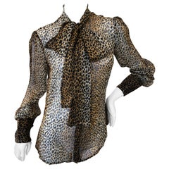 Dolce & Gabbana D&G Vintage Sheer Silk Leopard Print Blouse with Pussy Bow Sz 48