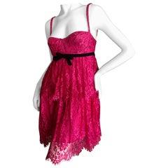 Dolce & Gabbana D&G Vintage SIlk Line Pink Lace Baby Doll Dress w Underwire Bra