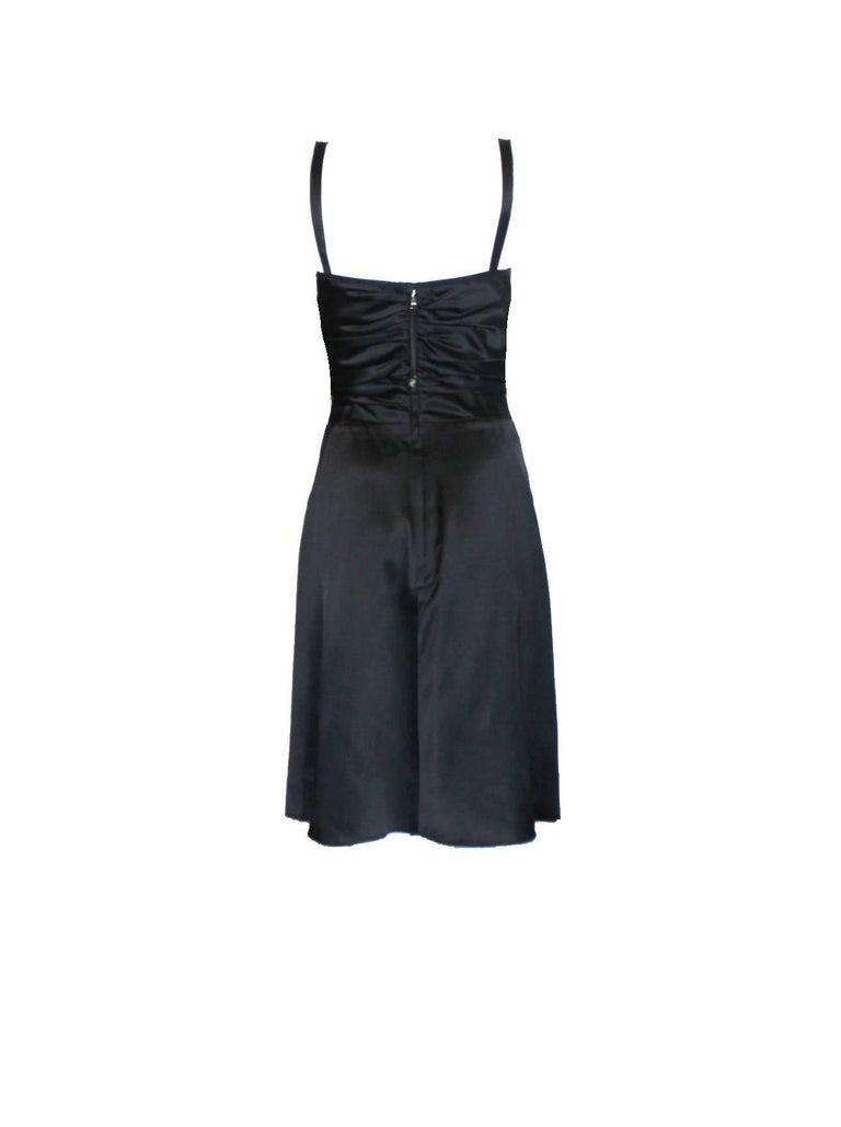 Black Dolce Gabbana Draped Corset Dress with Jeweled Crystals Ornament For Sale