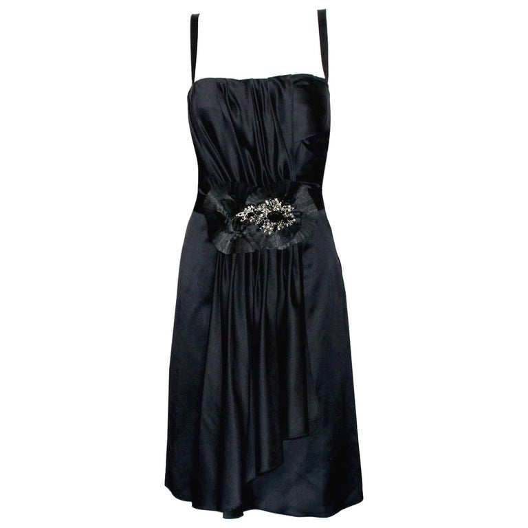 Dolce Gabbana Draped Corset Dress with Jeweled Crystals Ornament For Sale