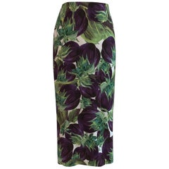 Dolce & Gabbana Eggplant Aubergine Print Midi Pencil Skirt Purple and Green