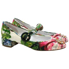 Dolce& Gabbana Embellished Floral Printed Pumps UK 3