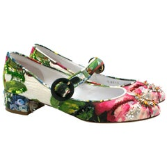 Dolce& Gabbana Embellished Floral Printed Pumps UK 3