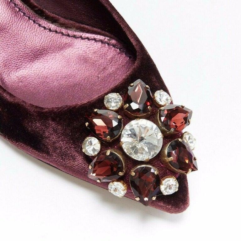 Black DOLCE & GABBANA embellished purple velvet crystal toe kitten heel pumps EU36.5 For Sale