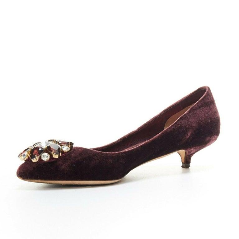 Women's DOLCE & GABBANA embellished purple velvet crystal toe kitten heel pumps EU36.5 For Sale