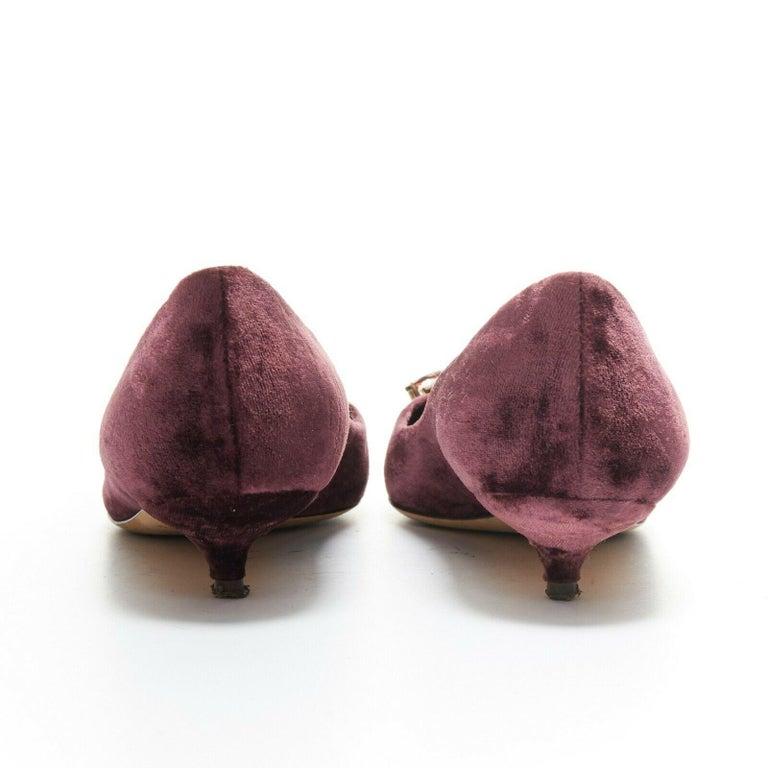 DOLCE & GABBANA embellished purple velvet crystal toe kitten heel pumps EU36.5 For Sale 1