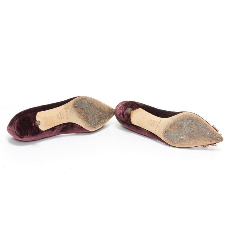 DOLCE & GABBANA embellished purple velvet crystal toe kitten heel pumps EU36.5 For Sale 2