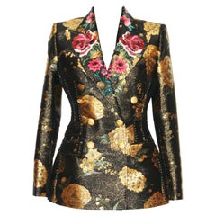 Dolce & Gabbana Embroidered Sequins Flowers Double Breasted Jacket