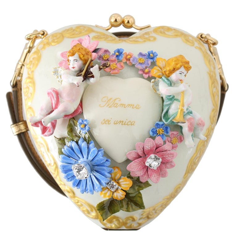 Dolce & Gabbana Enameled Metal Sacred Heart Minaudiere For Sale
