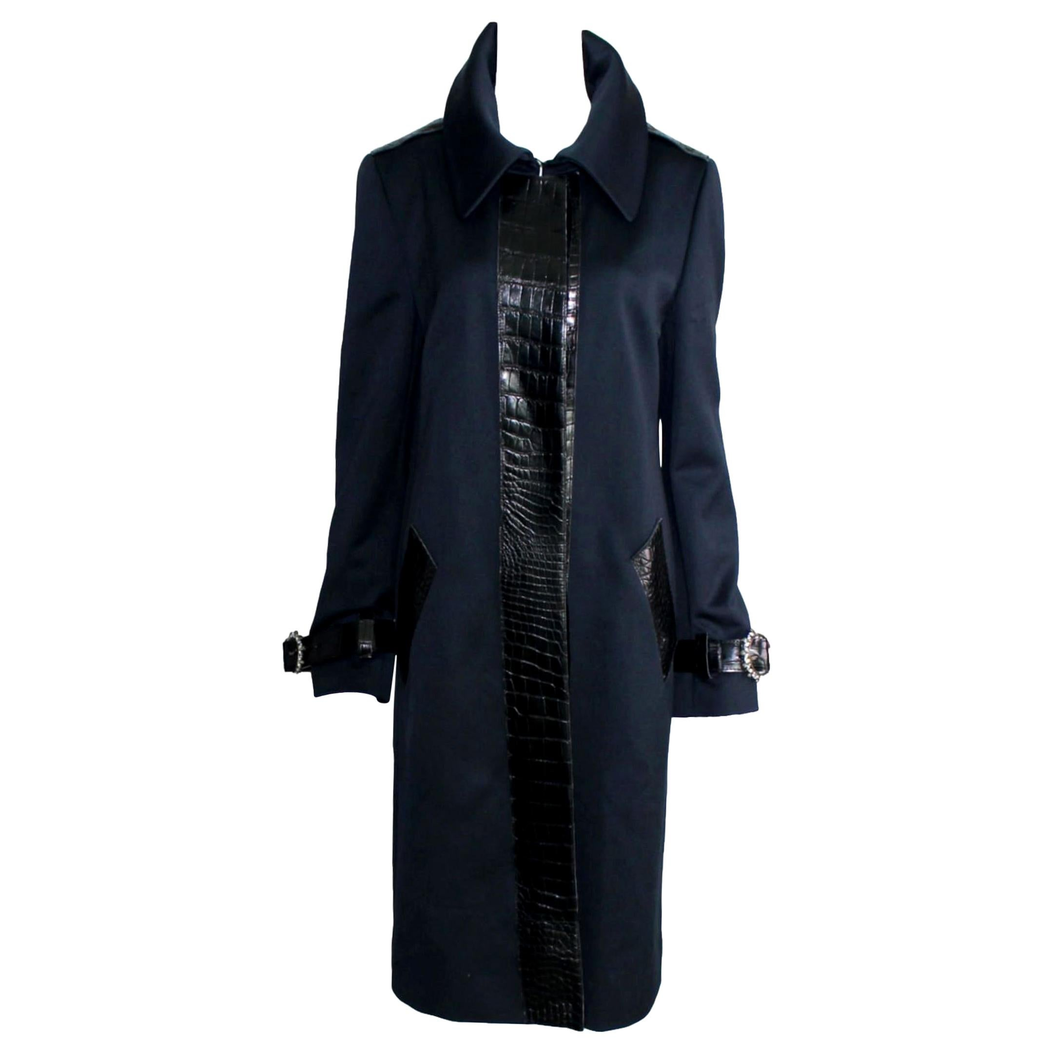 Dolce & Gabbana Exotic Alligator Skin Couture Crystal Jewelled Evening Coat
