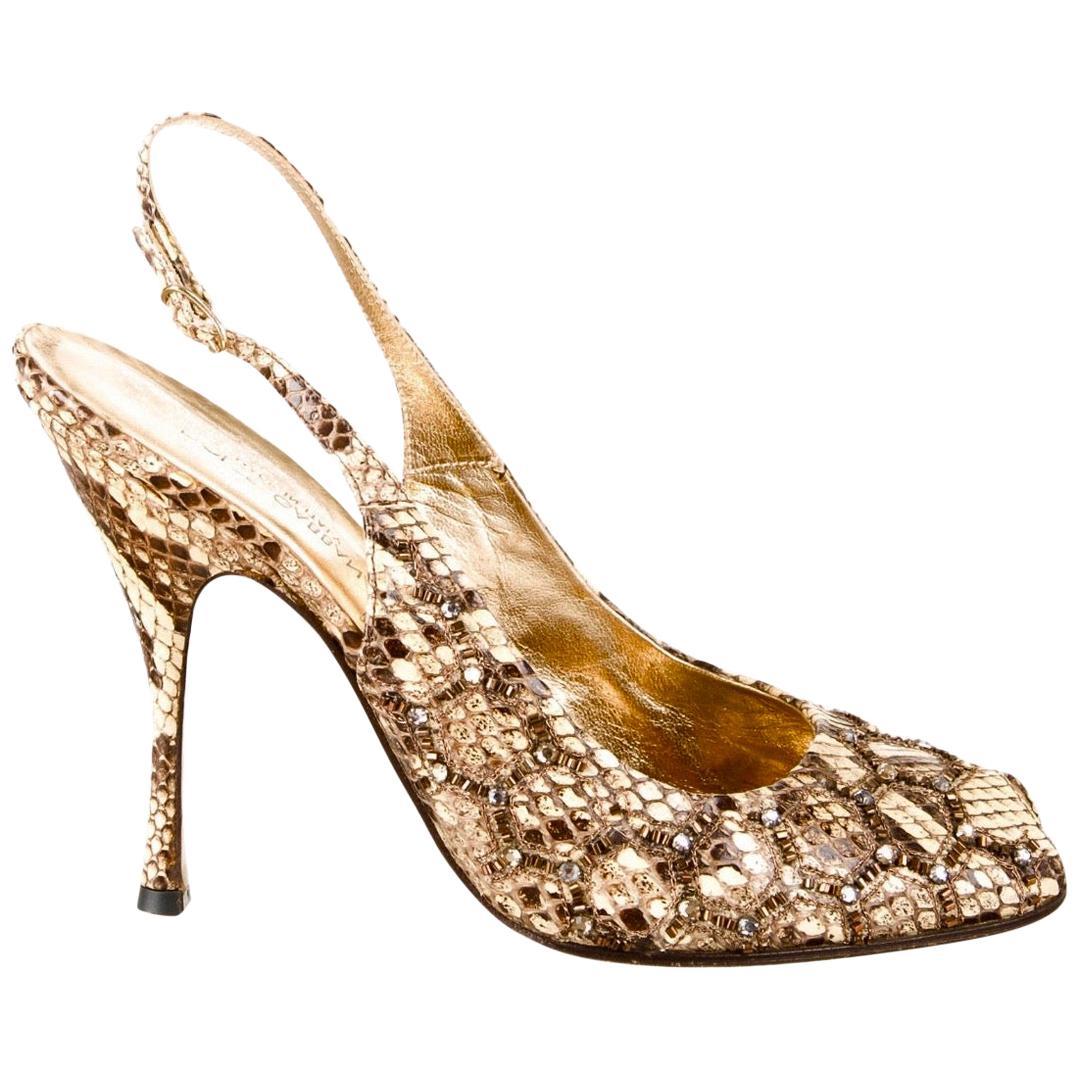 DOLCE & GABBANA Exotic Embellished Peep Toe High Heels Sling Back Sandals