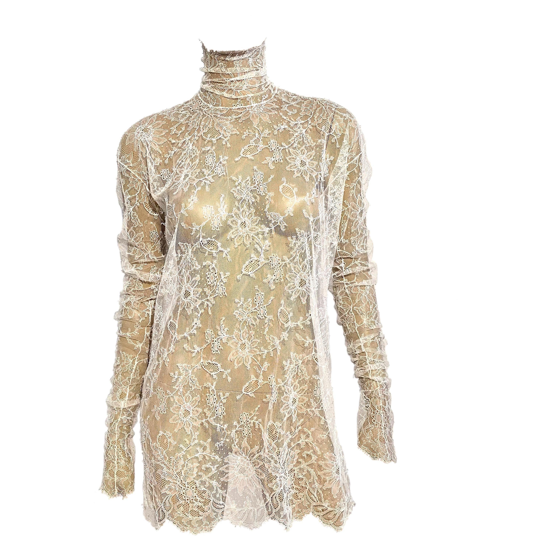 Dolce & Gabbana F/W 2001 White Lace Turtleneck Dress