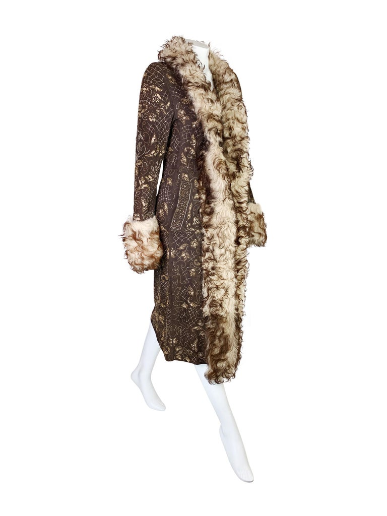 Dolce & Gabbana Fall 2001 Embellished Leather Coat For Sale 5