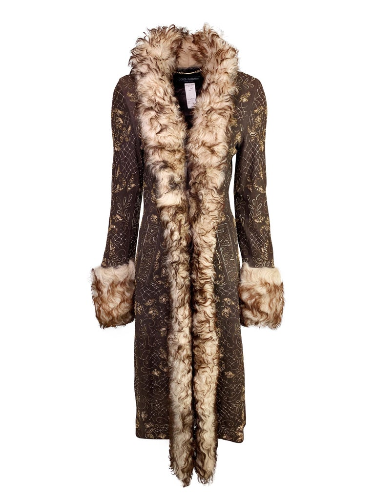 Brown Dolce & Gabbana Fall 2001 Embellished Leather Coat For Sale