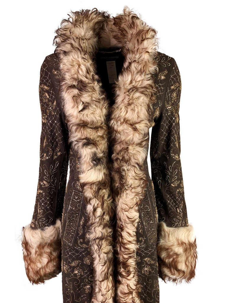 Dolce & Gabbana Fall 2001 Embellished Leather Coat For Sale 2