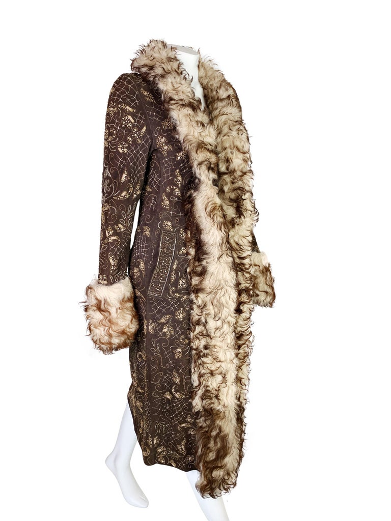 Dolce & Gabbana Fall 2001 Embellished Leather Coat For Sale 3