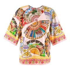 Dolce & Gabbana Fan-Printed Cotton Top IT 40