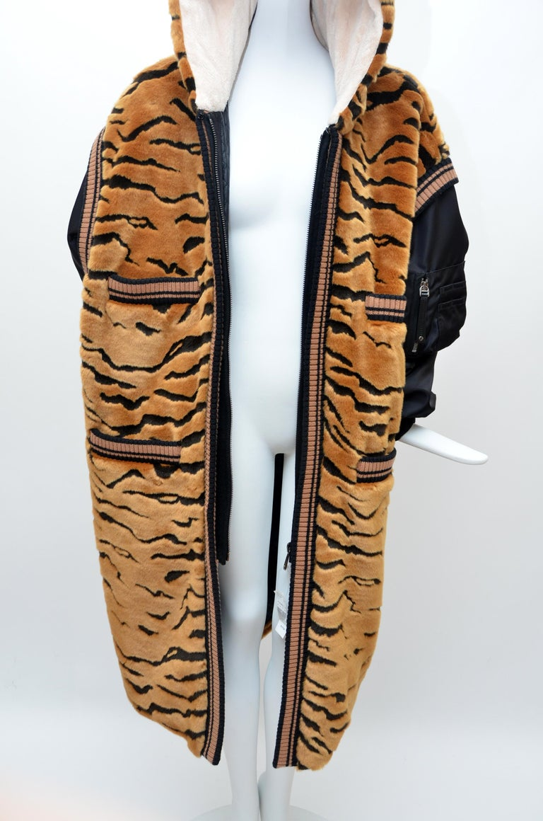 DOLCE & GABBANA  Faux Fur Tiger Hooded Long Jacket  Coat NEW 42 For Sale 1