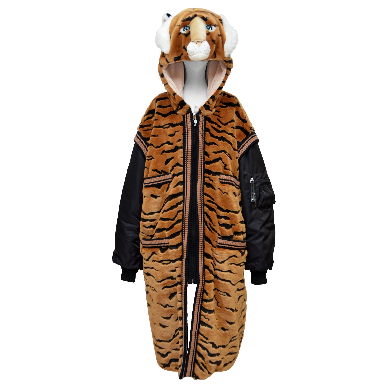 DOLCE & GABBANA  Faux Fur Tiger Hooded Long Jacket  Coat NEW 42