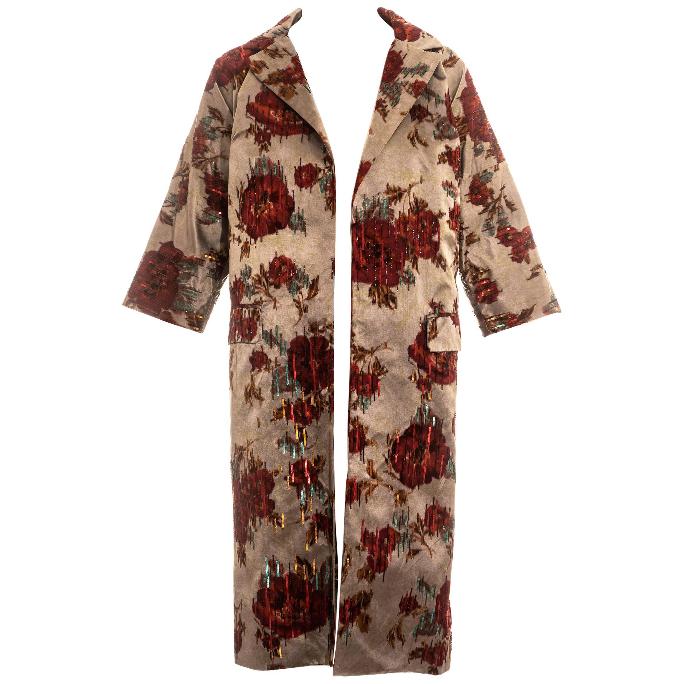Dolce & Gabbana floral beaded silk evening coat, ss 1999